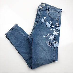 Topshop Moto Jamie Embroidered Skinny Jeans Sz 32